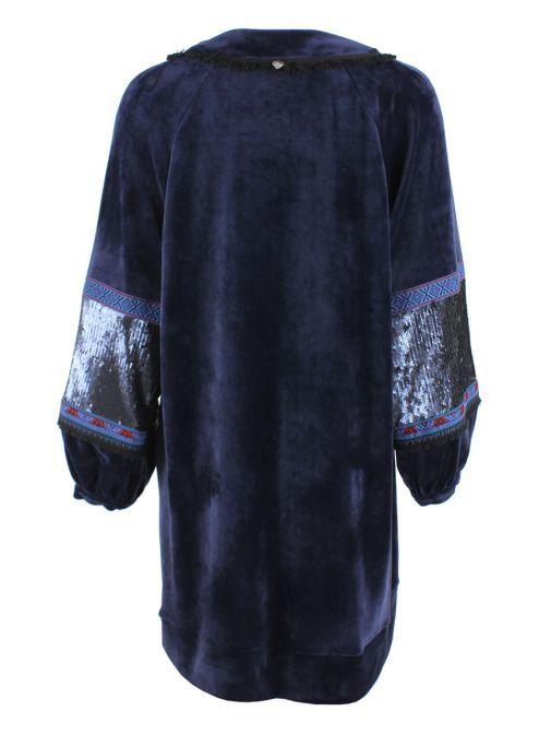 Mat Blue Velvet Sequins & Patterned Jumper Dress