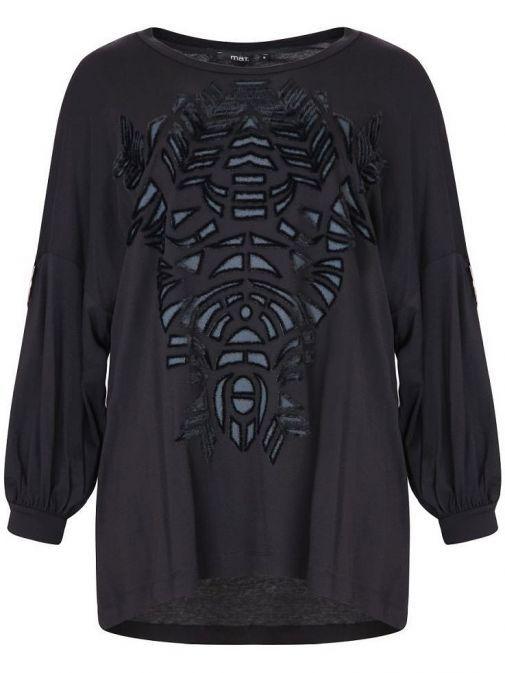 Mat Black Velvet Pattern Top 701.1010.R BLACK