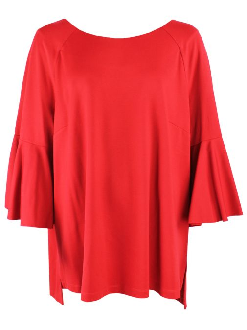 Mat Red Bell-Sleeved Top 701.1071 RED