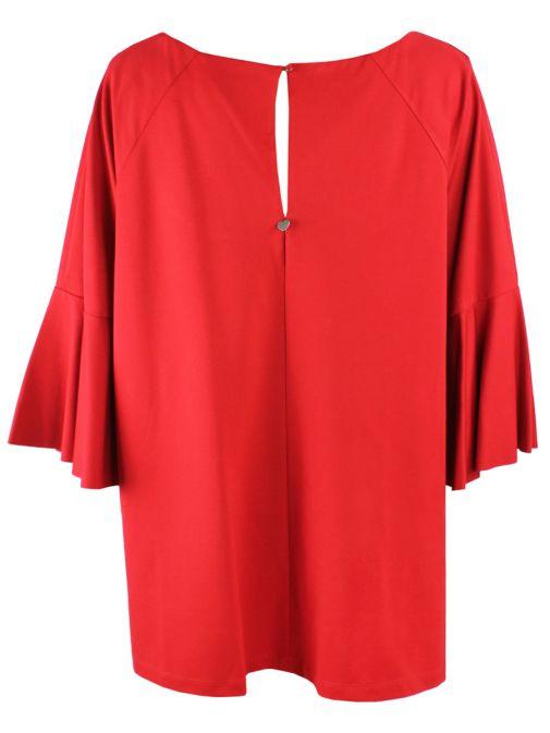 Mat Red Bell-Sleeved Top