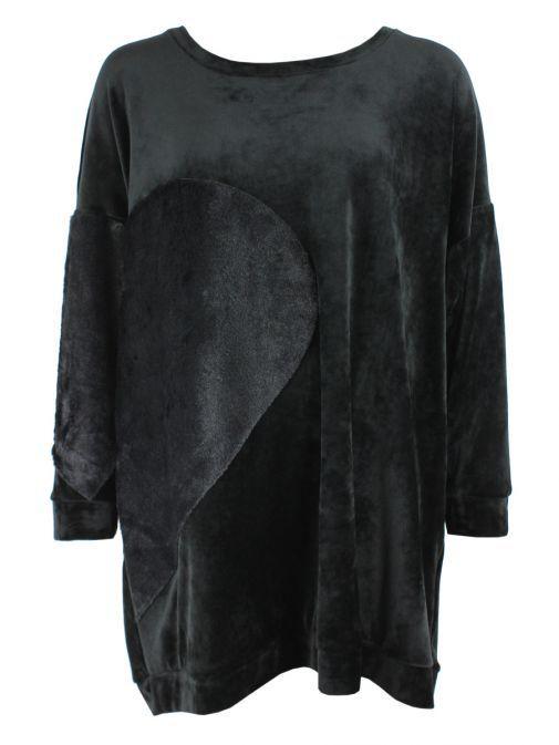 Mat Black Velvet And Faux-Fur Longline Jumper 701.1108 BLACK/BLACK