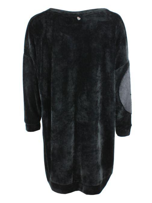 Mat Black Velvet And Faux-Fur Longline Jumper