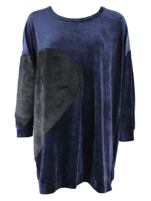 Mat Blue & Black Velvet And Faux-Fur Longline Jumper 701.1108 BLUE/BLACK