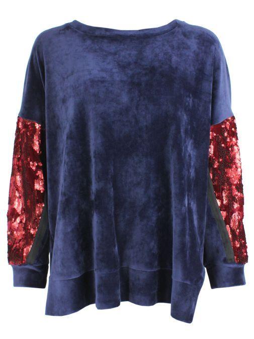 Mat Navy & Red Velvet Sequin Jumper 701.1126 BLUE