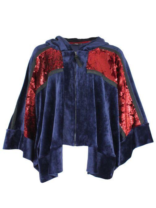 Mat Navy & Red Sequin Velvet Hoodie 701.4060.M BLUE/DARK R
