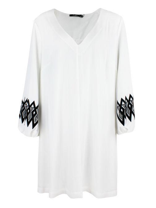 Mat Off-White Detailed Sleeve Tunic Dress 701.7066.R OFF WHITE/BLACK