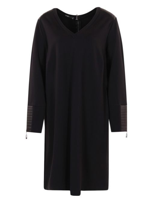 Mat Black Leather-Look Detailing Tunic Dress 701.7119 BLACK