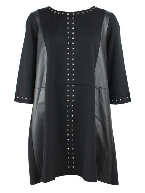 Mat Black Studded Tunic Dress 701.7137 BLACK