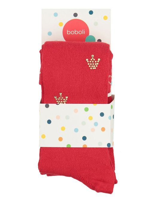 Boboli Red Tights With Crown Diamante Detail