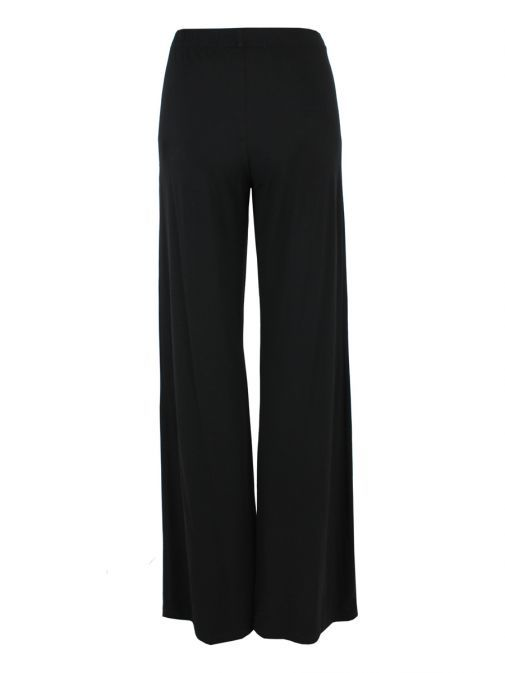 Mat Black Wide-Leg Trousers