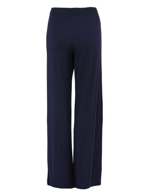 Mat Navy Wide-Leg Trousers