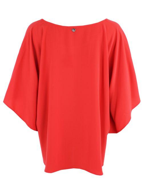 Mat Red Bell Sleeve Top