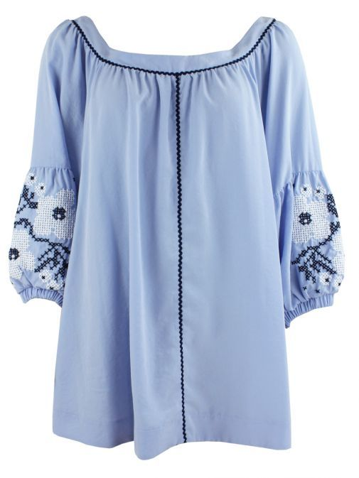 Mat Serenity Blue Embroidered Puffy Sleeve Tunic 711.1021