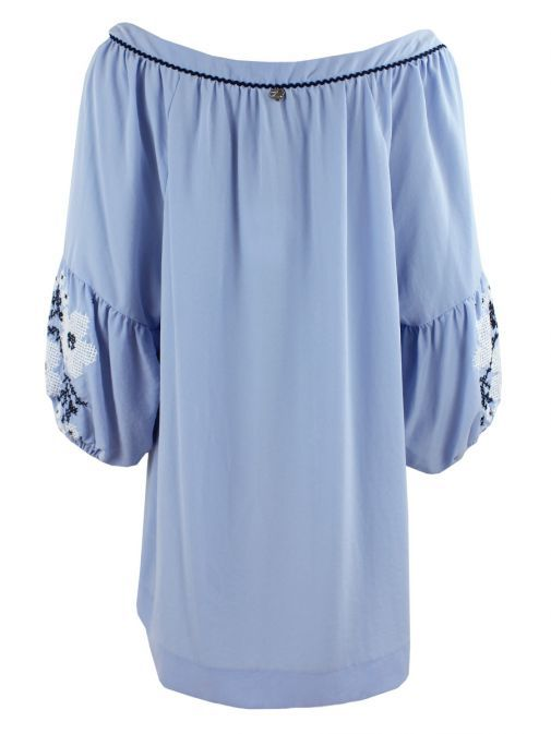 Mat Serenity Blue Embroidered Puffy Sleeve Tunic