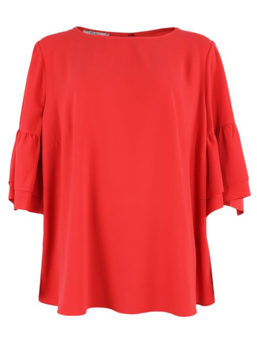 Mat Red Bell Sleeve Blouse 711.1054.R RED