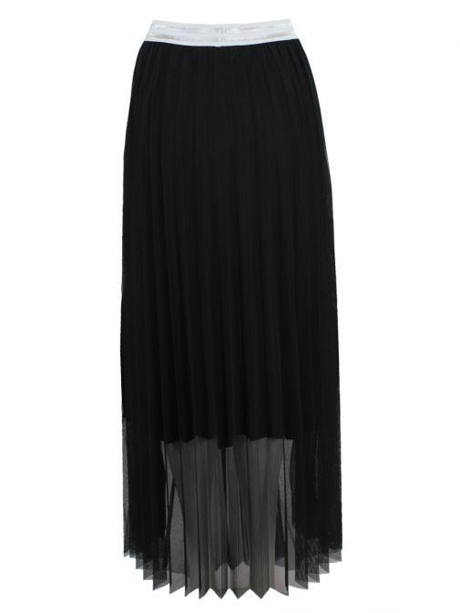 Mat Black Pleated Skirt