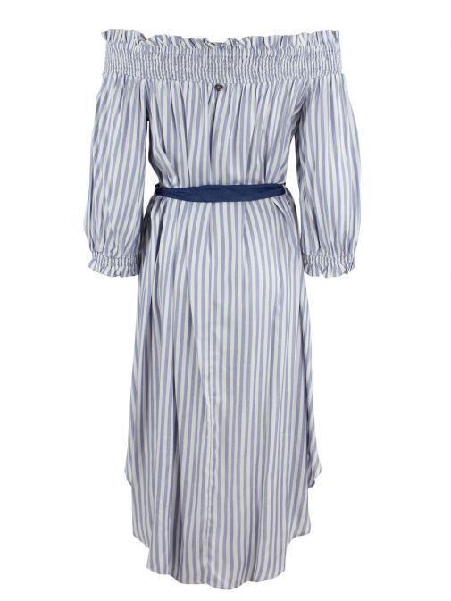 Mat Light Blue Striped Bardot High Low Tunic