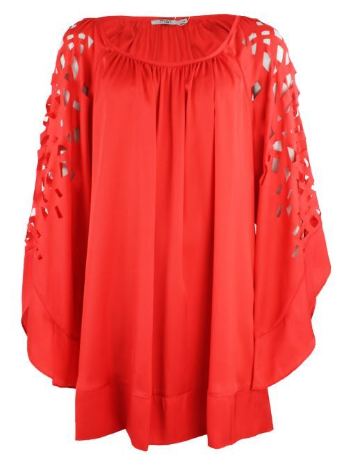 Mat Red Cut Out Sleeve Detail Tunic/Dress 711.7112 RED