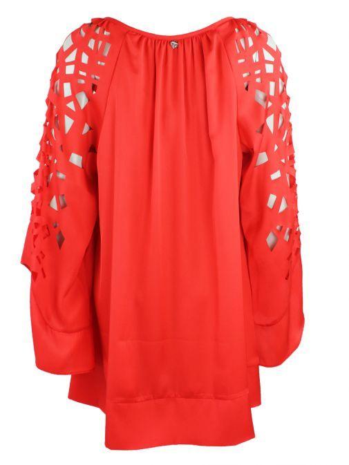 Mat Red Cut Out Sleeve Detail Tunic/Dress