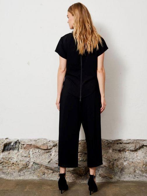 Molly Jo Black Top Overlay Wide Leg Jumpsuit