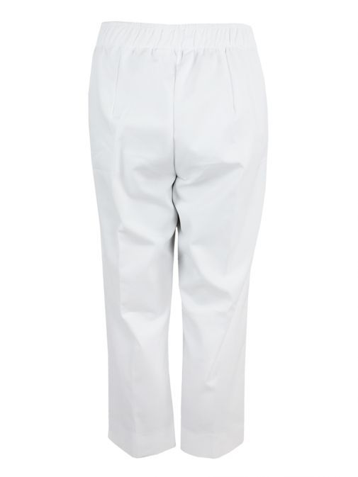 Mat White Cropped Trousers