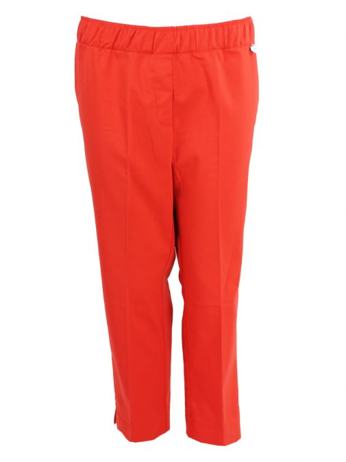 Mat Red Ankle Length Straight Trousers 718.2523 RED