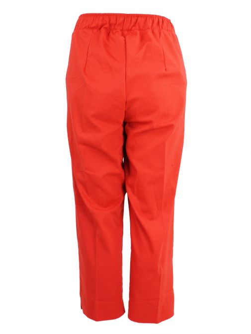 Mat Red Ankle Length Straight Trousers