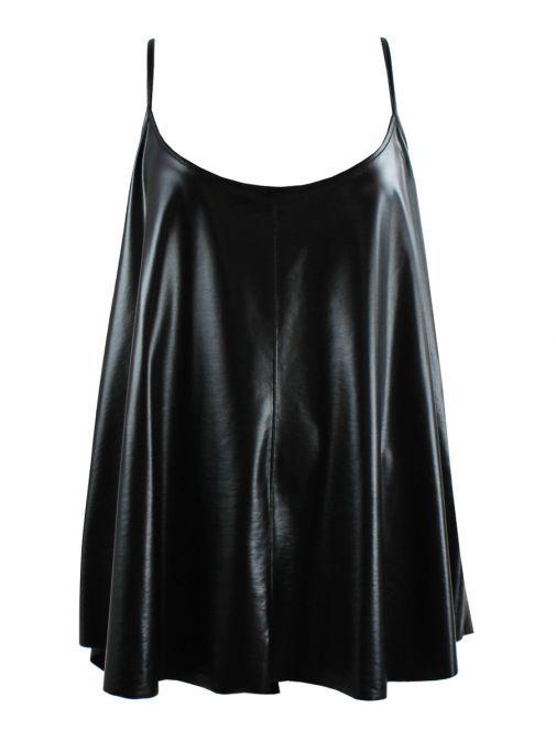 Mat Black Faux Leather Cami Top 7201.1127 BLACK