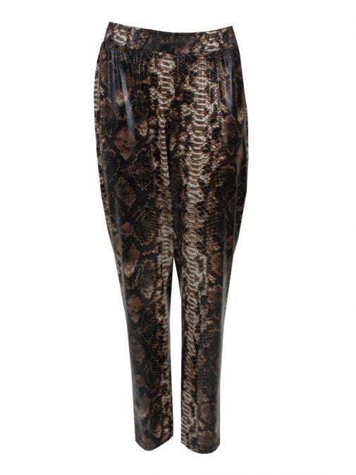 Mat Brown Snakeskin Print Leggings 7201.2102 BROWN