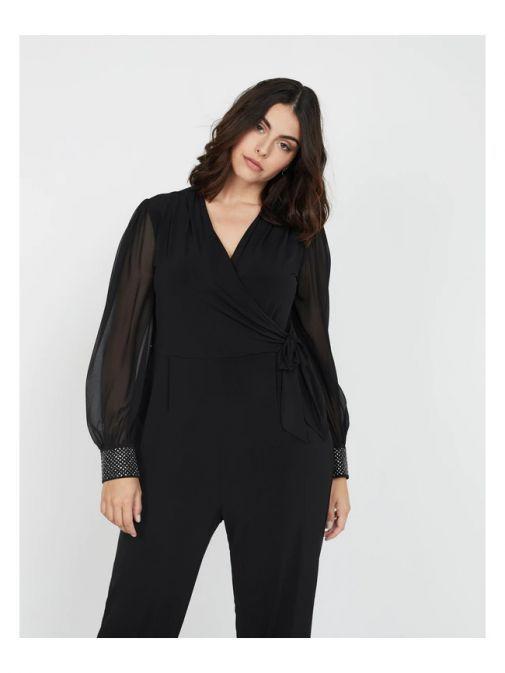 Mat Black Wrap Style Jumpsuit
