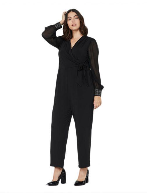 Mat Black Wrap Style Jumpsuit 7201.7137 BLACK