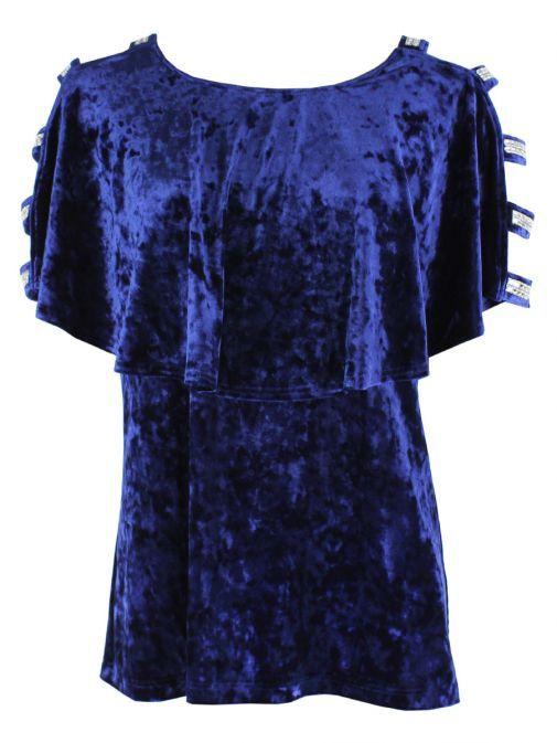 Tia Blue Cut Out Shoulder Top 74428 64 BLUE