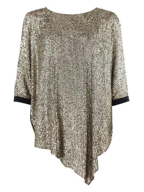 Tia Gold Open Sleeve Sequin Top 74805 14
