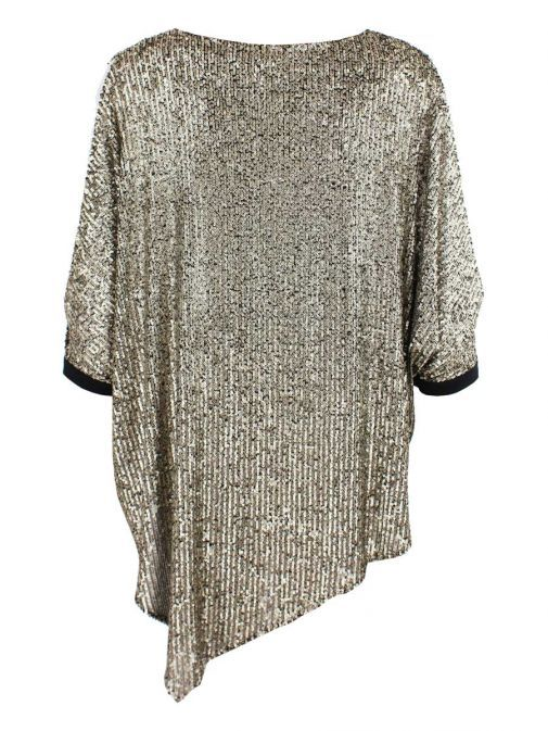 Tia Gold Open Sleeve Sequin Top