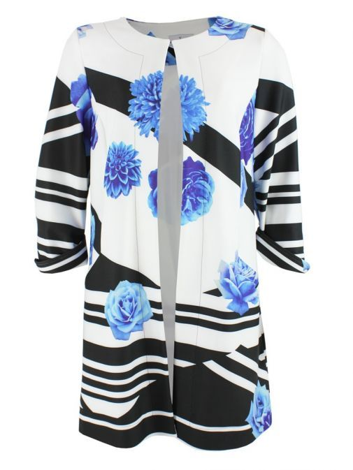 Tia Multicolour Floral Stripe Print Jacket