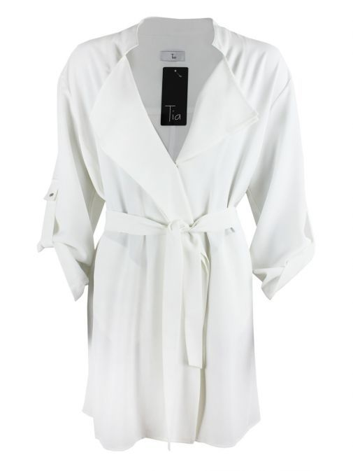Tia Off-White Trench Style Coat