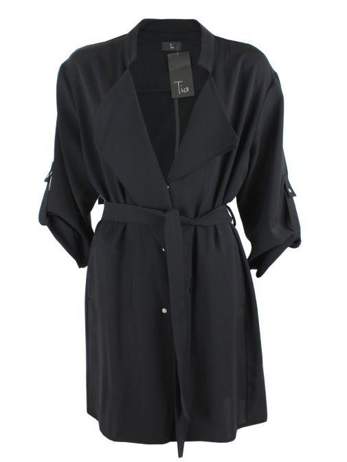 Tia Black Trench Style Coat 77421 90
