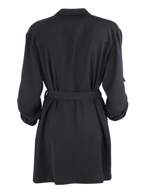 Tia Black Trench Style Coat