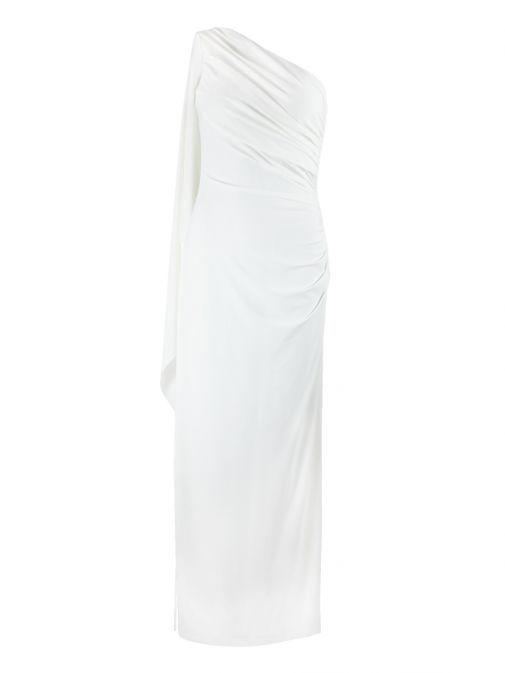 Frank Lyman Ivory Ruffled Side Dress 78005 Ivory