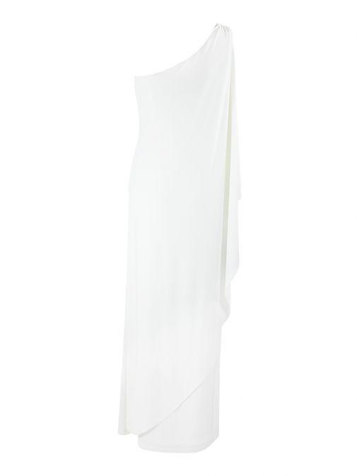 Frank Lyman Ivory Ruffled Side Dress