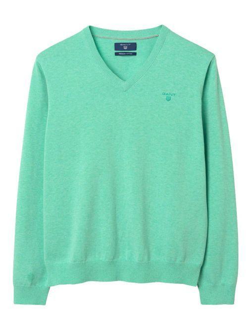 GANT Light Pistage (Green) Light Weight Cotton V-Neck Jumper 83072 392