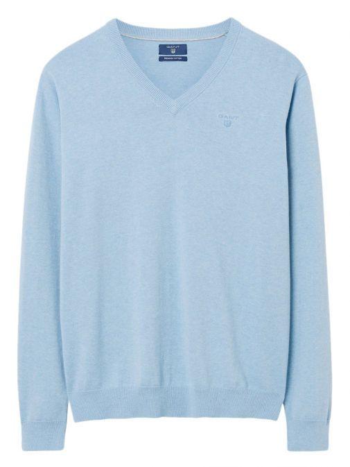 Gant Light Blue Lightweight Cotton V-Neck Jumper 83072 497