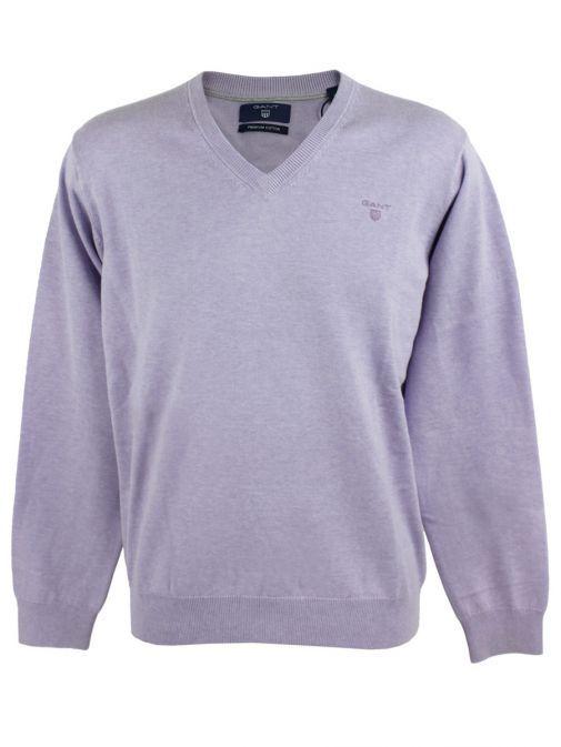 GANT Light Purple Melange Light Weight Cotton V-Neck Jumper 83072 597