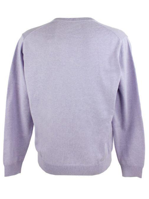 GANT Light Purple Melange Light Weight Cotton V-Neck Jumper