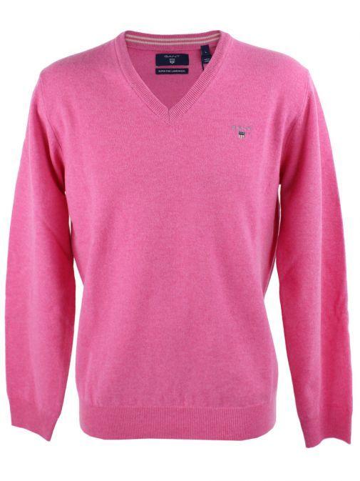Gant Pink Lightweight Lambswool V-Neck Jumper 86212 697