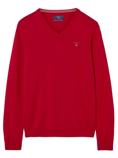 Gant Bright Red Lightweight Lambswool V-Neck Jumper 86121 620