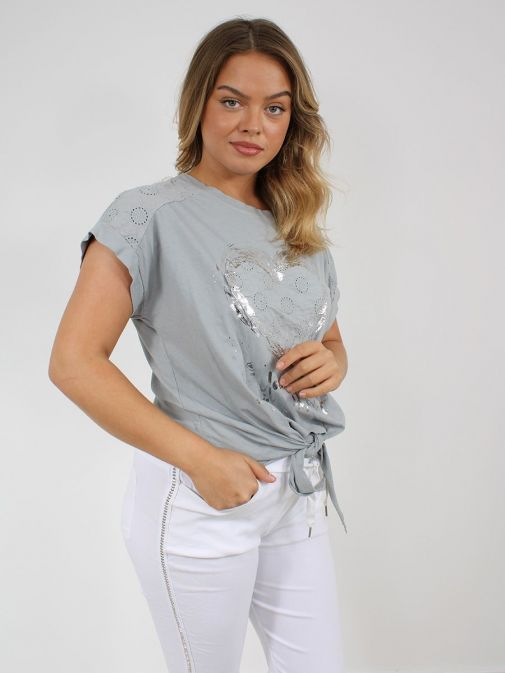 Front shot of the Cilento Women Silver Heart Detail Top in the Grey colour featuring short sleeves, rounded neckline and silver heart