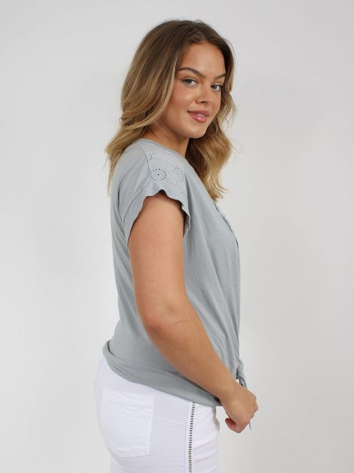 side shot of the Cilento Women Silver Heart Detail Top in the Grey colour featuring short sleeves, rounded neckline and silver heart