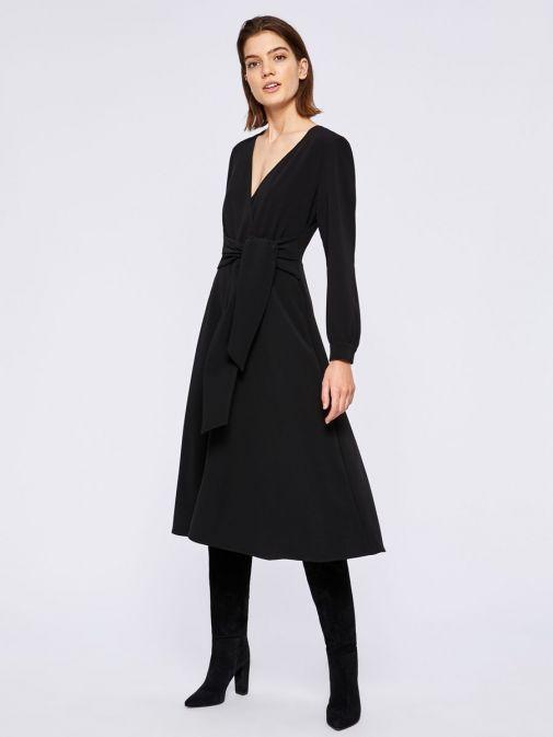 Model wearing Emme by Marella Long Sleeve V-Neck Midi Dress in Black