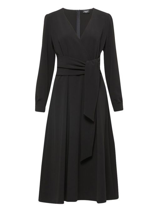 Front shot of Emme by Marella Long Sleeve V-Neck Midi Dress in Black